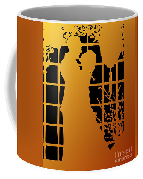 Couples Coffee Mug featuring the digital art Golden Silhouette Of Couple Embracing by Rose Santuci-Sofranko