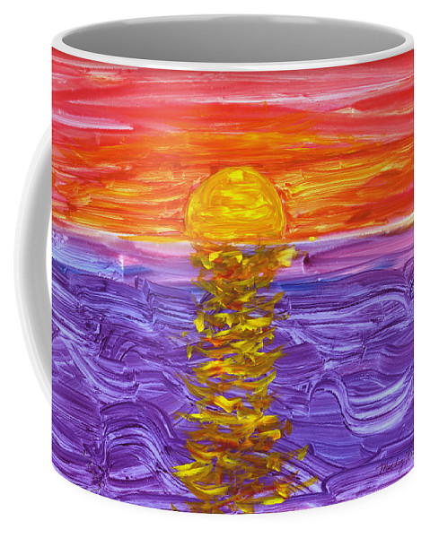 Seascape Coffee Mug featuring the painting Golden Sunset 2 by Mickey Krause