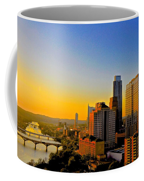 Downtown Austin Coffee Mug featuring the photograph Golden Sunset In Austin Texas by Kristina Deane