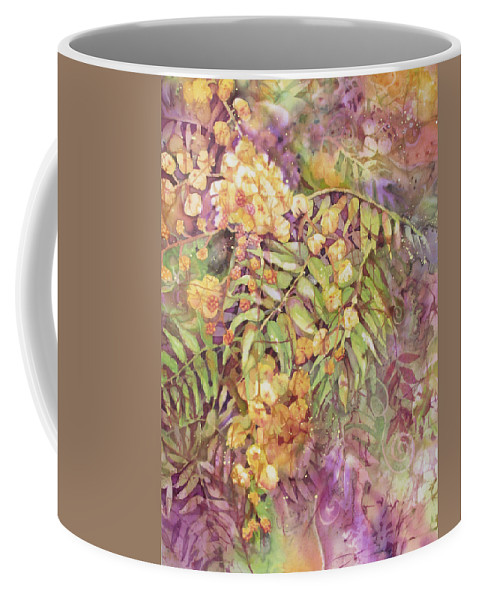 Flower Coffee Mug featuring the painting Golden Wattle by Deborah Younglao
