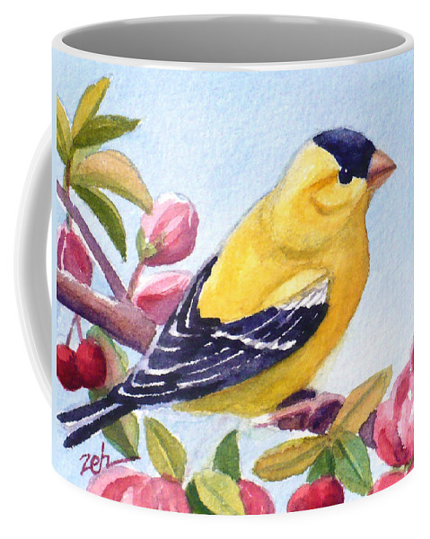 Goldfinch Bird Print Coffee Mug featuring the painting Goldfinch In A Crab Apple Tree by Janet Zeh