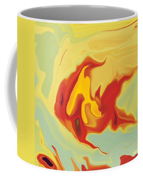 Aquarium Coffee Mug featuring the digital art Goldfish 2 by Rabi Khan