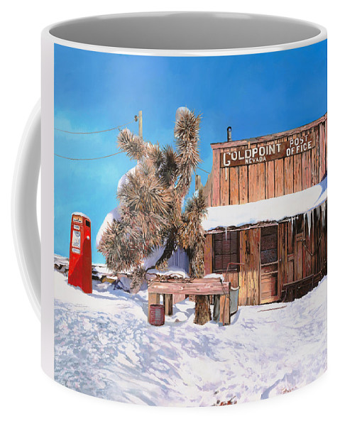 Gold Coffee Mug featuring the painting Goldpoint-nevada by Guido Borelli