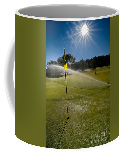 Agricultural Sprinkler Coffee Mug featuring the photograph Golf Course Sprinkler On Sunny Day by Amy Cicconi