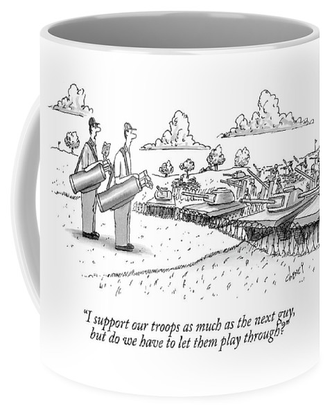 Golf Coffee Mug featuring the drawing Golfing Through A Warzone by Tom Cheney