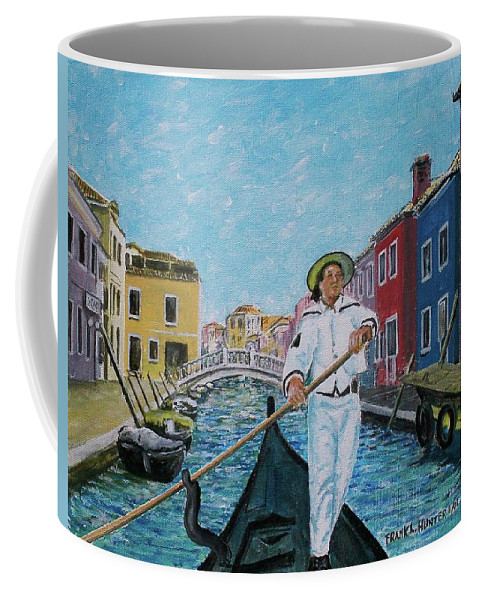 Gondolier Canal Venice Buiildings Coffee Mug featuring the painting Gondolier At Venice Italy by Frank Hunter