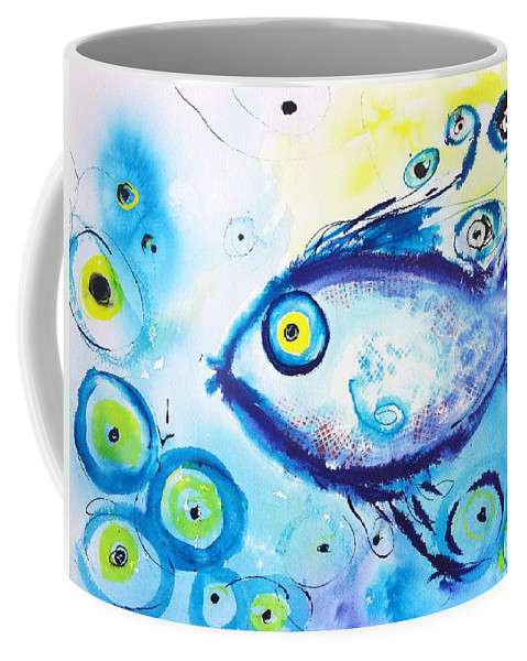 Fish Coffee Mug featuring the painting Good Luck Fish Abstract by Carlin Blahnik CarlinArtWatercolor