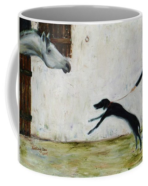 Equine Coffee Mug featuring the painting Good To See You Again by Xueling Zou