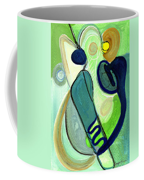 Abstract Art Coffee Mug featuring the painting Gorgeous In Green by Stephen Lucas