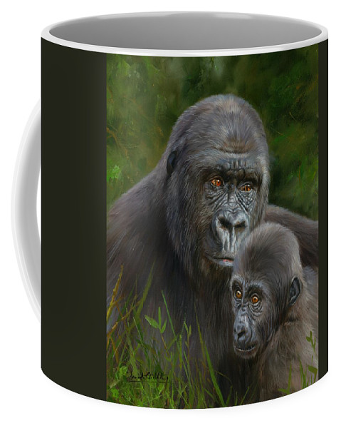 Gorilla Coffee Mug featuring the painting Gorilla And Baby by David Stribbling