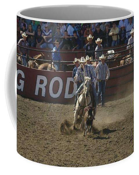 Calf Roping Coffee Mug featuring the photograph Got Em by Jeff Swan