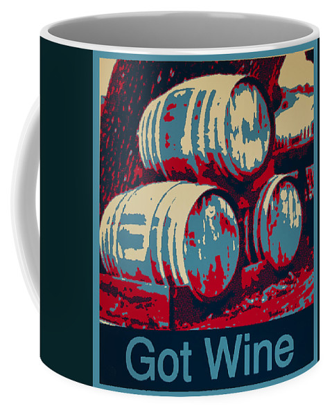 Barbara Snyder Coffee Mug featuring the digital art Got Wine Blue by Barbara Snyder