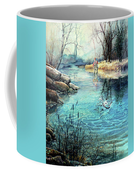 Fly Fishing Coffee Mug featuring the painting Gotcha by Hanne Lore Koehler