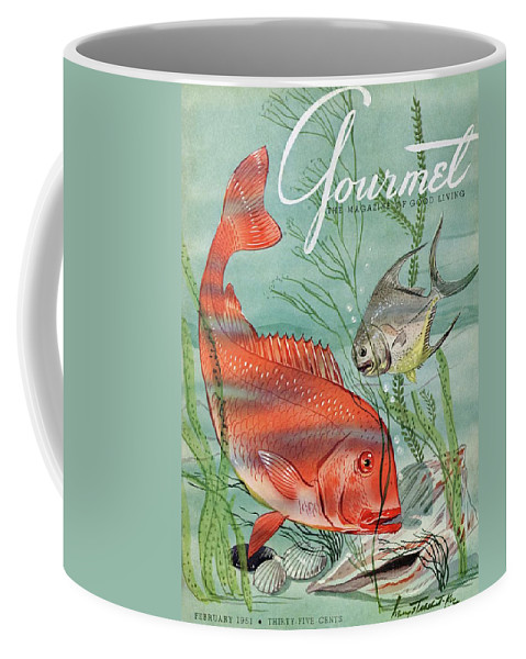 Illustration Coffee Mug featuring the photograph Gourmet Cover Featuring A Snapper And Pompano by Henry Stahlhut