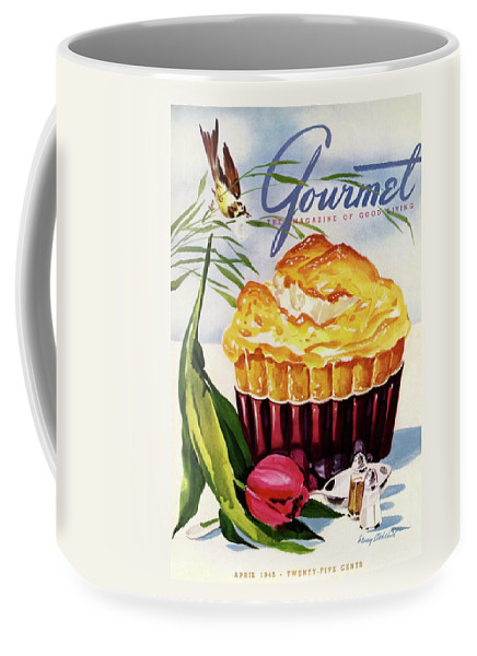 Illustration Coffee Mug featuring the photograph Gourmet Cover Illustration Of A Souffle And Tulip by Henry Stahlhut