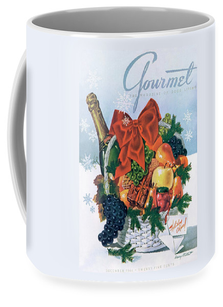 Food Coffee Mug featuring the photograph Gourmet Cover Illustration Of Holiday Fruit Basket by Henry Stahlhut
