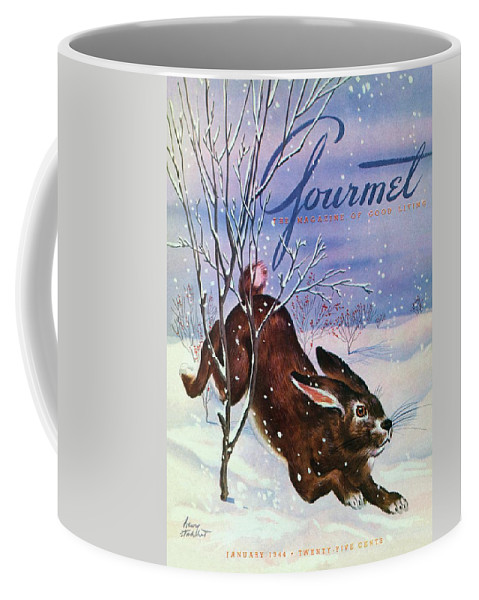 Illustration Coffee Mug featuring the photograph Gourmet Cover Of A Rabbit On Snow by Henry Stahlhut