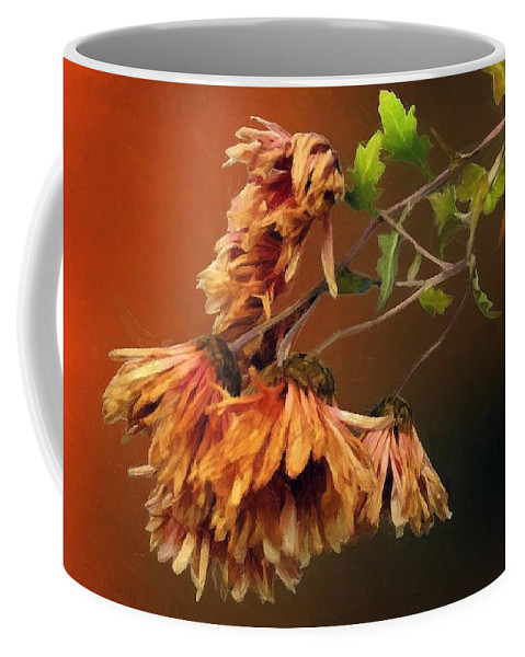 Chrysanthemums Coffee Mug featuring the painting Graceful Fade by RC DeWinter