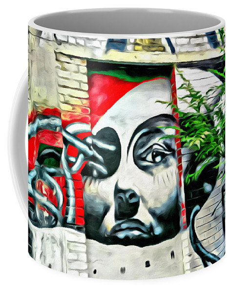 Grafitti Lady Face Coffee Mug featuring the photograph Grafitti Three Lady by Alice Gipson