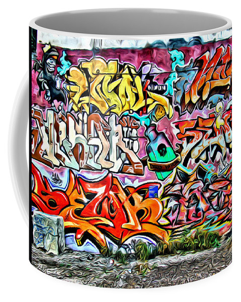 Grafitti Wall Coffee Mug featuring the photograph Grafitti Two by Alice Gipson