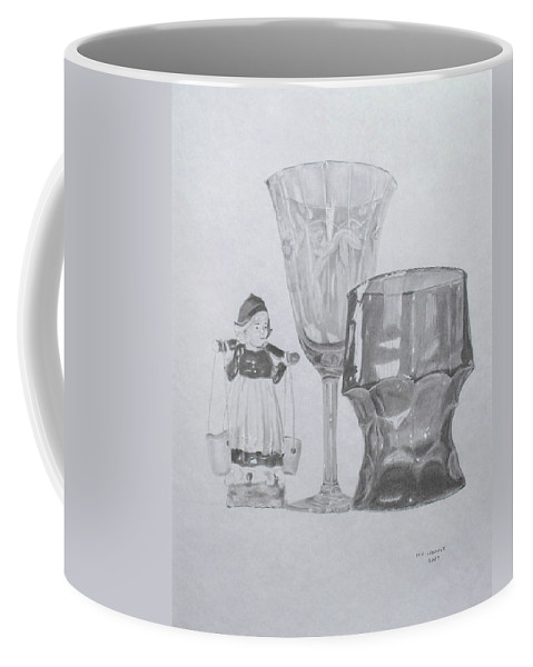 Glassware Coffee Mug featuring the drawing Grammas Glasses by Mary Ellen Mueller Legault