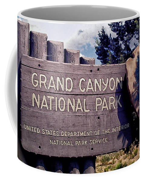 The Grand Canyon Coffee Mug featuring the photograph Grand Canyon Signage by Thomas Woolworth