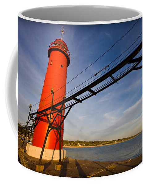 3scape Coffee Mug featuring the photograph Grand Haven Lighthouse by Adam Romanowicz