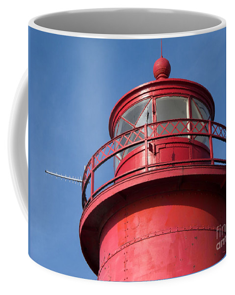 Lighthouse Coffee Mug featuring the photograph Grand Haven Red by Ann Horn