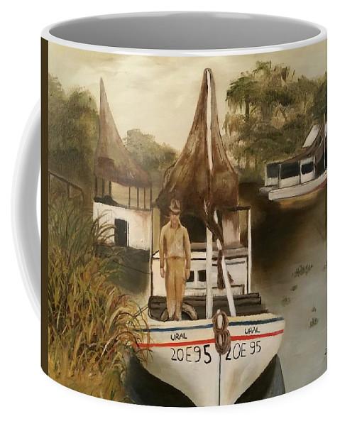 Louisiana Coffee Mug featuring the painting Grand Paw Domangue by John Duplantis