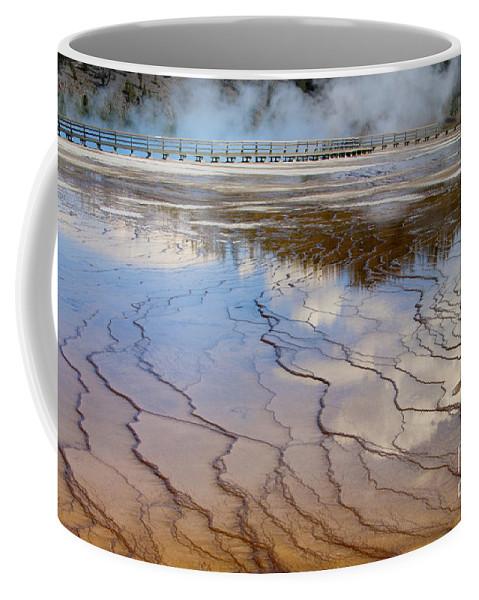 Yellowstone Coffee Mug featuring the photograph Grand Prismatic Runoff - Yellowstone by Sandra Bronstein