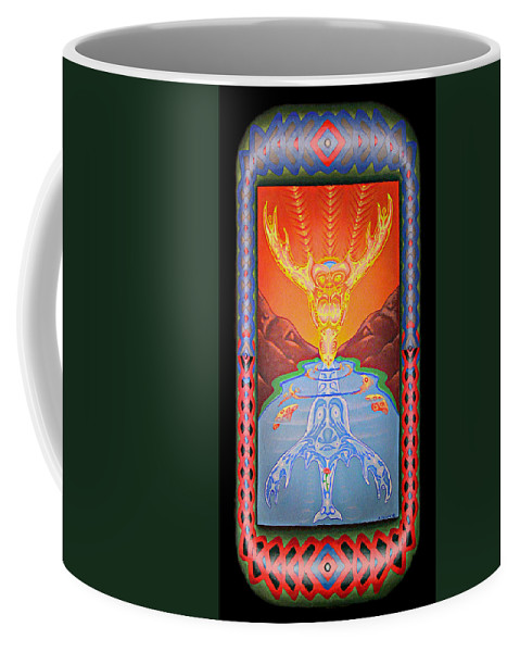 Native American Coffee Mug featuring the painting Grandmother Grandfather by Kevin Chasing Wolf Hutchins