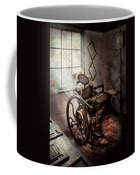 Graphic Artist Coffee Mug featuring the photograph Graphic Artist - The Humble Printing Press by Mike Savad