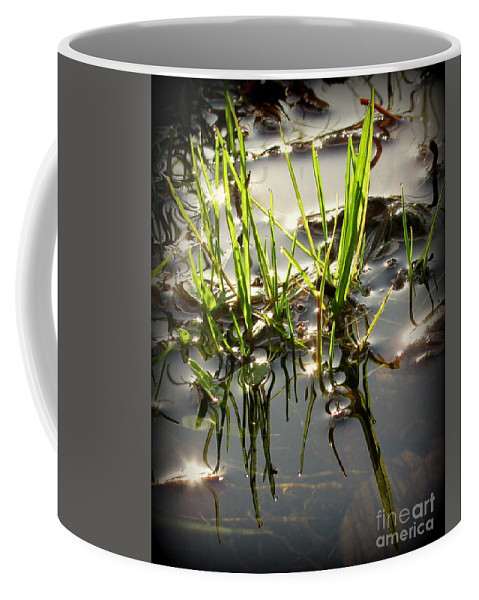 Grass Coffee Mug featuring the photograph Grasses In Water by Leone Lund