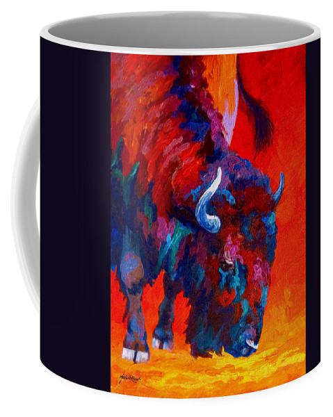 Bison Coffee Mug featuring the painting Grazing Bison by Marion Rose