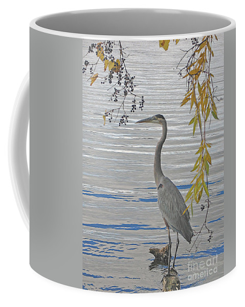 Heron Coffee Mug featuring the photograph Great Blue Heron by Ann Horn
