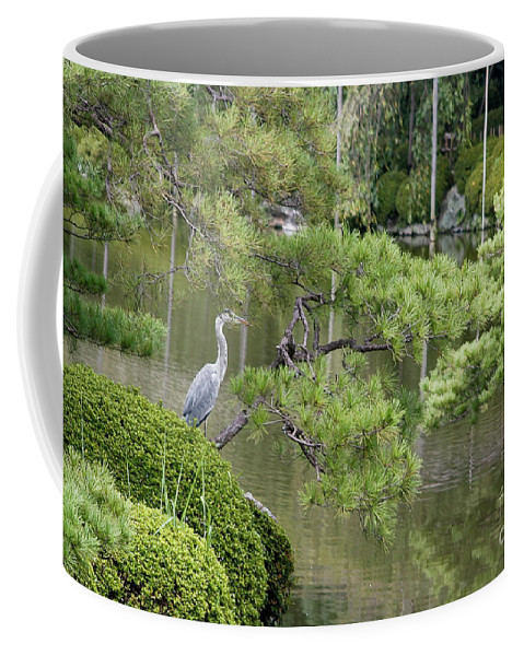 Blue Coffee Mug featuring the photograph Great Blue Heron In Pond Kyoto Japan by Thomas Marchessault