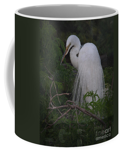 Egret Coffee Mug featuring the photograph Great Egret by Art Whitton