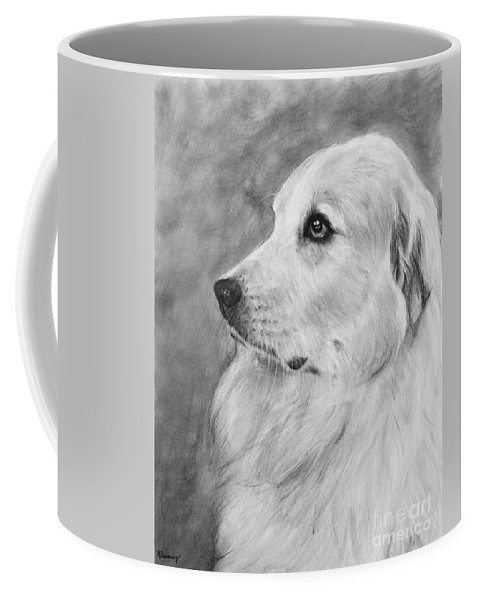 Great Pyrenees Coffee Mug featuring the drawing Great Pyrenees In Profile Drawing by Kate Sumners
