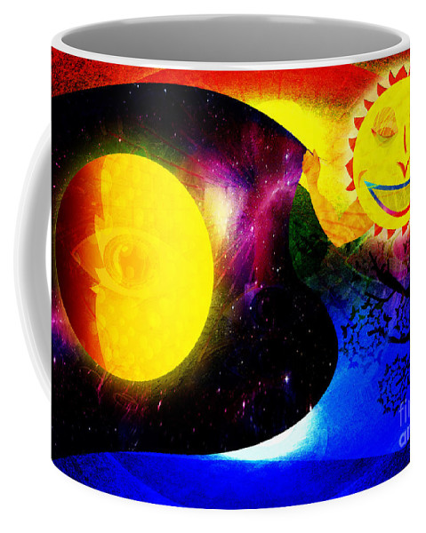 Sun Coffee Mug featuring the painting Great Sun Jester And The Night Sky by Neil Finnemore