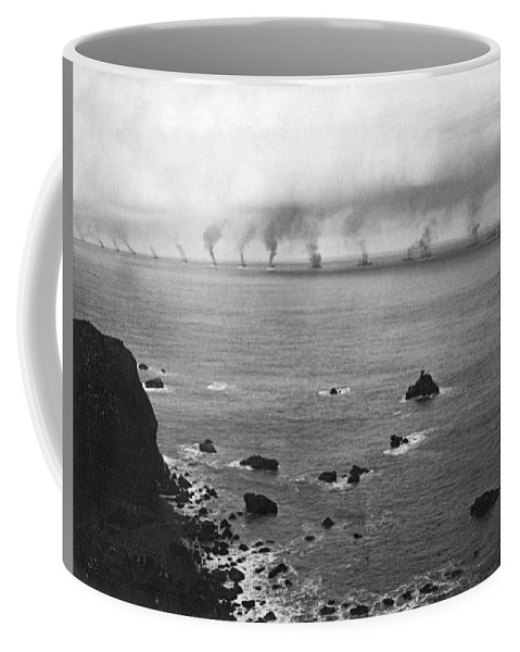 16 Battleships Coffee Mug featuring the photograph Great White Fleet Visits Sf by Underwood Archives
