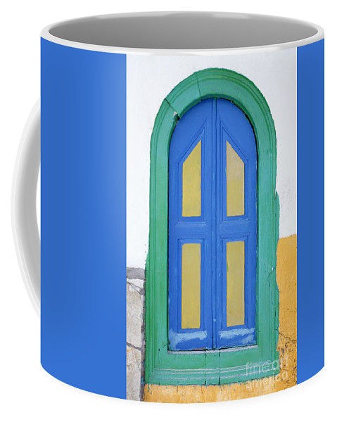 Greek Coffee Mug featuring the photograph Greek Door by Neil Overy