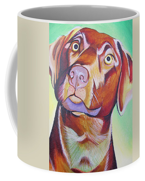 Dog Portraits Coffee Mug featuring the painting Green And Brown Dog by Joshua Morton