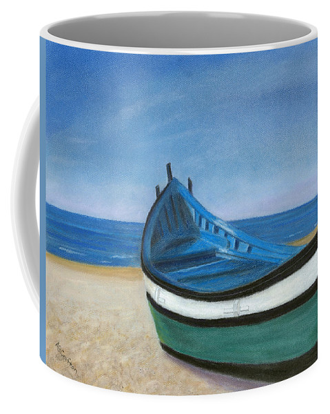 Boat Coffee Mug featuring the painting Green Boat Blue Skies by Arlene Crafton