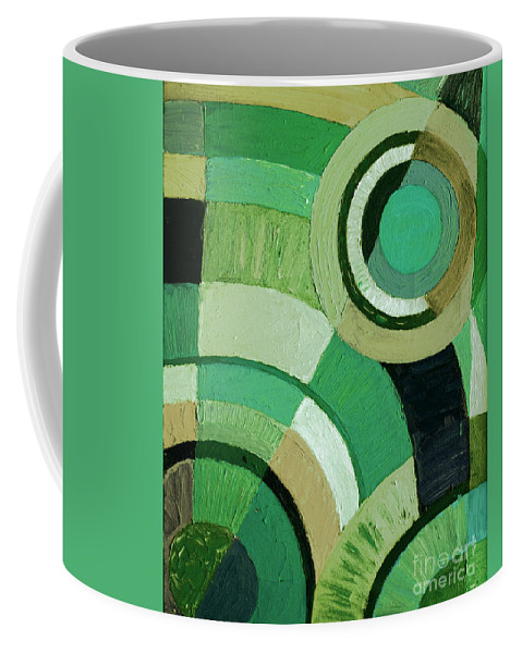 Geometric Coffee Mug featuring the painting Green Circle Abstract by Karen Adams