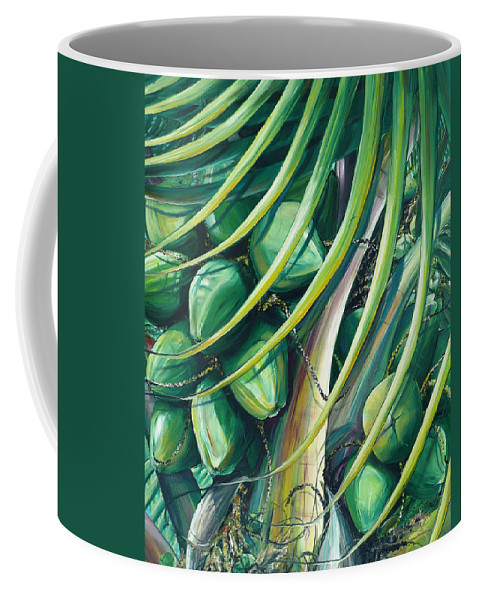 Coconut Painting Caribbean Painting Coconuts Caribbean Tropical Painting Palm Tree Painting  Green Botanical Painting Green Painting Coffee Mug featuring the painting Green Coconuts 2 by Karin Dawn Kelshall- Best