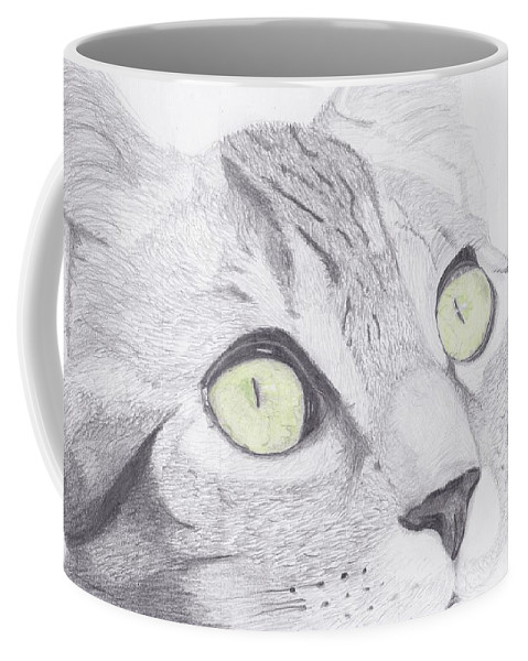 Cat Coffee Mug featuring the drawing Green Eyed Cat by David Smith