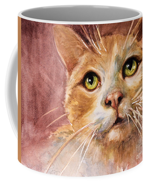 Cat Coffee Mug featuring the painting Green Eyes by Judith Levins