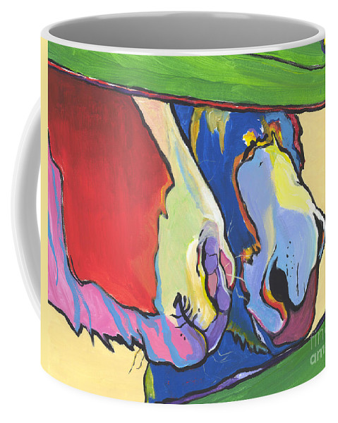 Pat Saunders-white Canvas Prints Coffee Mug featuring the painting Green Fence by Pat Saunders-White