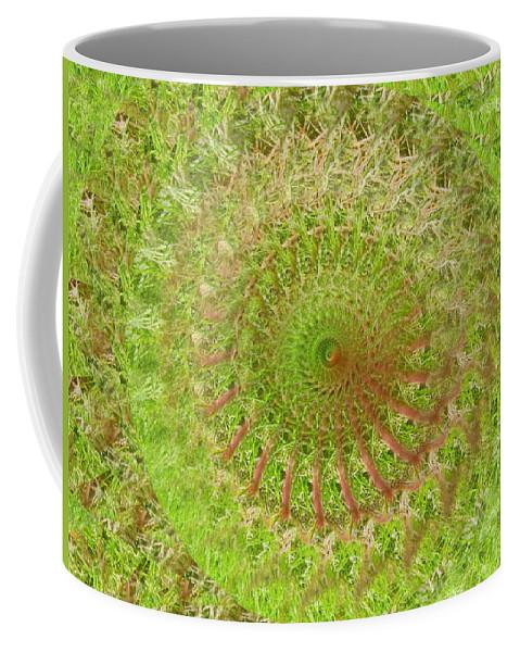 Green Coffee Mug featuring the digital art Green Grass Swirled by Rhonda Barrett
