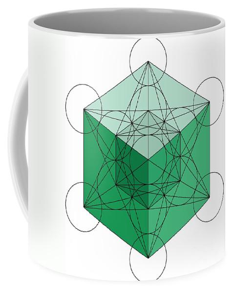 Metatron Coffee Mug featuring the digital art Green Hypercube by Steven Dunn